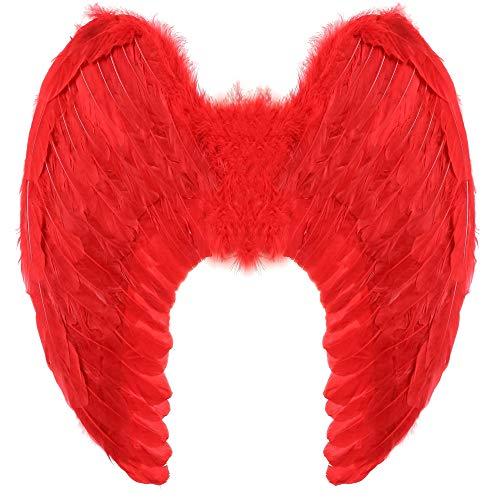 Yummy Bee - Alas Angel - Alas de Angel Blancas - Alas Negras Malefica - Plumas Diablo - Halloween Fiestas de Disfraces Adulto - Grandes 60 x 40 cm (Rojo)