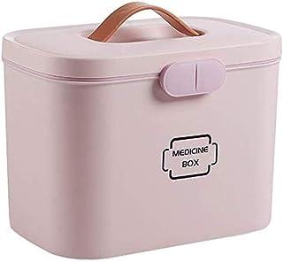 AINIYF Drug Box Storage Box Small Medicine Box Storage Box Multi-Layer First Aid Kit Medicine Storage Box Family Portable (Color : Pink)