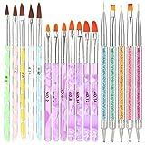 Opopark Pennelli per Unghie 17 Pezzi UV Gel Pennello per Nail Art in Nylon Acrilico Pittur...