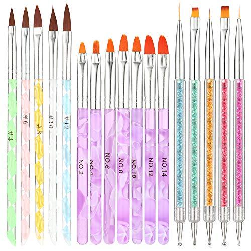 Opopark Pennelli per Unghie 17 Pezzi UV Gel Pennello per Nail Art in Nylon Acrilico Pittura Pennello per Unghie, 3 Stile