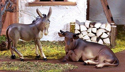 Krippenfiguren Esel und Ochse, Polyresin, handbemalt. Krippentiere zu 10-11 cm