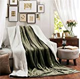 XUMINGLSJ Mantas para Sofás de Franela- Manta para Cama Reversible de 100% Microfibre Extra Suave -Verde Oliva_Los 200 * 230cm