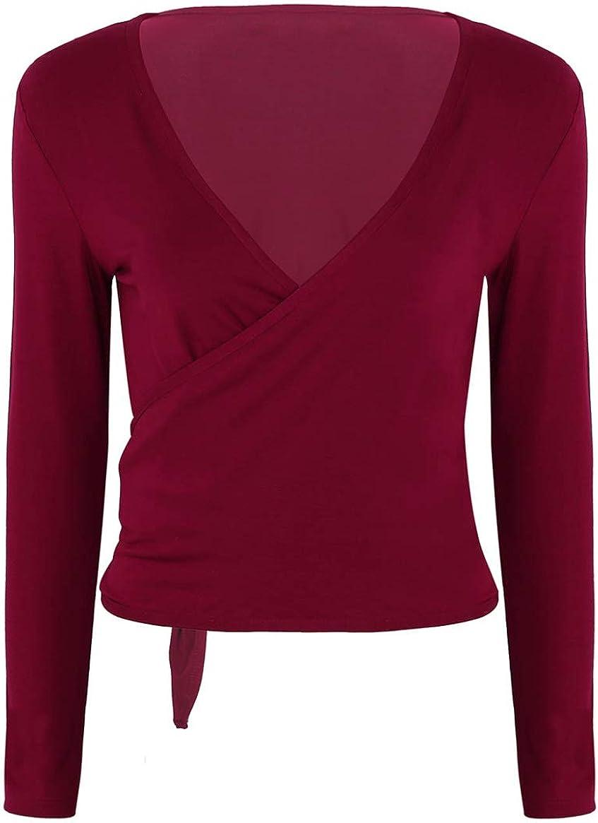 YUUMIN Womens Deep V-Neck Long Sleeves Shirts Bandage Surplice Wrap Tops Cardigan Shrug Tops