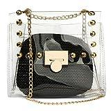 2 in 1 Transparente Geldbörse Kleine Schultertasche für Frauen, wasserdichte Kette Crossbody Tasche Gr. One size, Schwarz