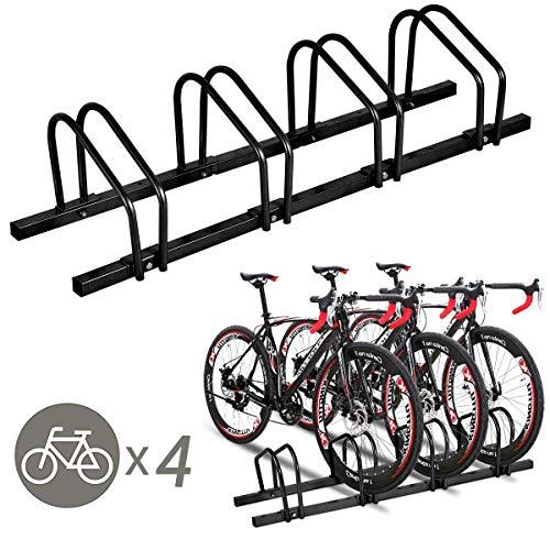 Goplus 4 Bike Rack Bicycle Stand Cycling Rack Parking Garage Storage Organizer, Black