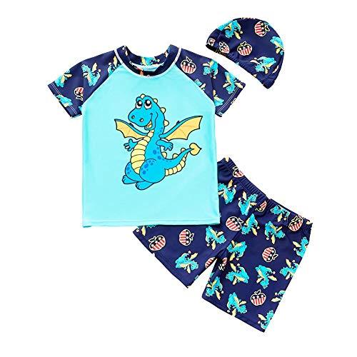 Driedelige jongens-badpak kinderzonnewerende badkleding T-shirt met bescherming tegen uitslagbeveiliging voor peutersets baby-Rashguards met korte mouwen en kap Medium Blauwe vliegsaurus.