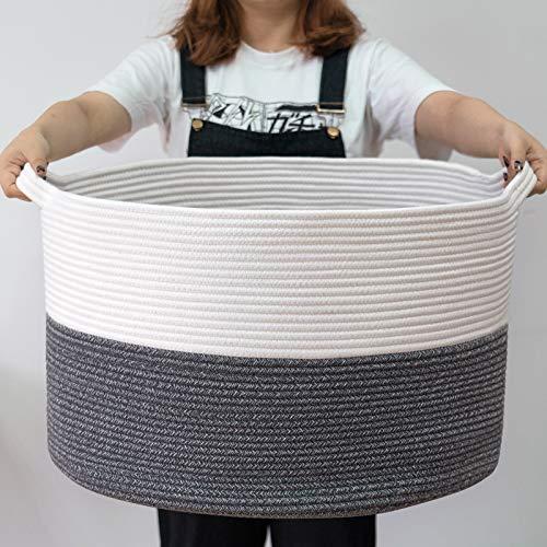 "INDRESSME XXXLarge Cotton Rope Basket 21.7"" x 21.7"" x 13.8"" Woven Baby Laundry Basket Blanket Basket Toy Basket with Handle Storage Comforter Cushions Gray Laundry Hamper"