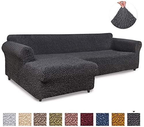 Menotti Ecksofa-Überzug in L-Form, für Sofa und Sessel, elastischer Stoff, Leinen, anthrazit, L-Shape Left