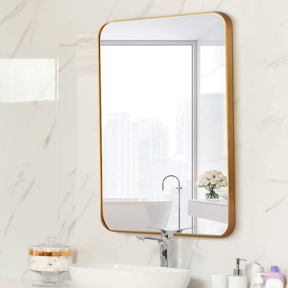 Letushy 新発売 世界の人気ブランド Aluminium Frame Wall Mirror Rectangle Bathroom