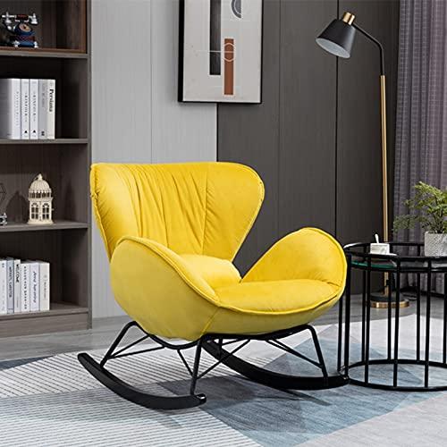 Mecedora para adultos, cómoda interior, de franela, con patas de acero, para dormitorio o salón, soporta hasta 300 kg, color amarillo