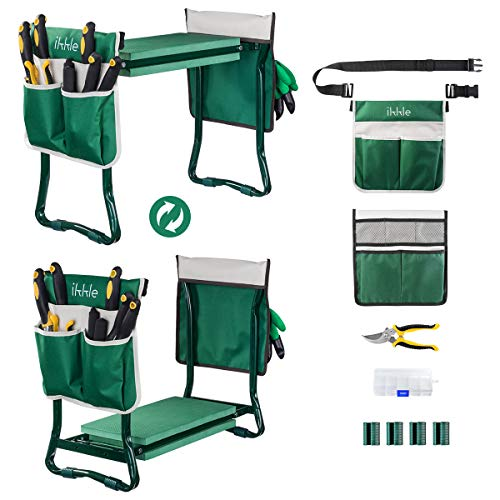 Garden Kneeler and Seat, Upgraded Folding Garden Bench Stool Portable Garden Kneeler Gardening Tools...
