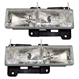 Aftermarket Replacement Driver and Passenger Set Composite Headlights Compatible with 1990-2002 C/K 1500 2500 3500 Old Body Style Pickup Truck