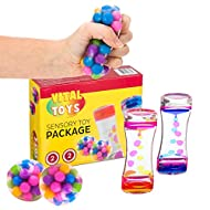 VITAL TOYS Sensory Toy Package-Ideal Gifts for Children with Autism-Sensory Toys for Autistic Children-Squeeze Balls and Liquid Motion Timers -Toys for Special Needs Children - Autism Toys - 4 Pack