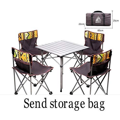 XUMINGZDY Klappbarer Tisch und Stuhl im Freien tragbarer Leichter Picknicktisch und Stühle selbstfahrendes Feld Aluminiumlegierung Grill Wilde Camping Tisch (Farbe : A)