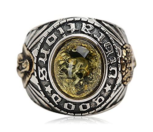 RXSHOUSH Anillos de los hombres 925 plata ámbar anillo dominante joyería Ins novio hijo Lucky Ring 22 #