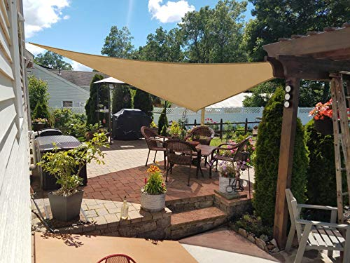 HENG FENG 16'5''x16'5''x16'5'' Sand Triangle Sun Shade Sail UV Block for Patio Deck Yard and Outdoor