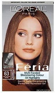 L'Oréal Paris Feria Multi-Faceted Shimmering Permanent Hair Color, 63 Sparkling Amber (Light Golden Brown), 1 kit Hair Dye