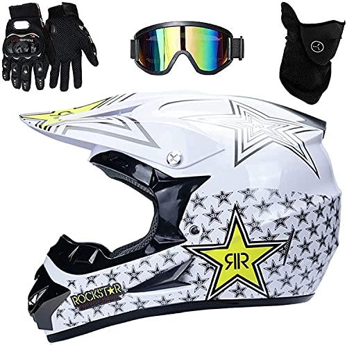 LLDKA Casco de Motocicleta para niños Motocross Cross Off-Road, Niños estándar Auriculares Quad Bike (Color : White, Size : L)