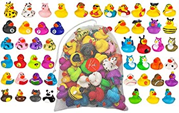 Kicko Assorted Rubber Ducks with Mesh Bag - 50 Ducklings 2 Inch - for Kids Sensory Play Stress Relief Novelty Stocking Stuffers Classroom Prizes Decorations Supplies Holidays Pinata Fillers