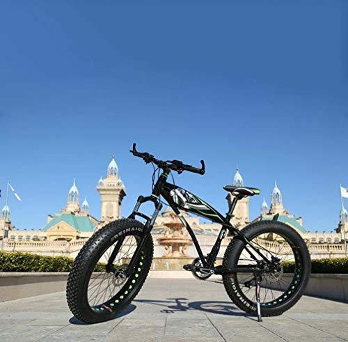 AISHFP Fat Tire Adulti Mountain Bike, in Lega di Doppio Freno a Disco/Struttura di Alluminio Cruiser Bikes, Spiaggia motoslitta Bicicletta, 26 Pollici Ruote,Nero,21 Speed