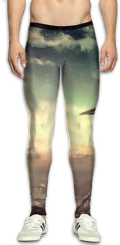 Dfdffrfrwqq Sky and UFO Men's Active Basic Athletic Skinny Track Pants