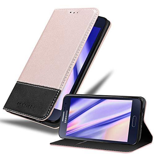 Cadorabo Hülle für Samsung Galaxy A3 2015 (5) - Hülle in Rose Gold SCHWARZ – Handyhülle mit Standfunktion und Kartenfach aus Einer Kunstlederkombi - Case Cover Schutzhülle Etui Tasche Book