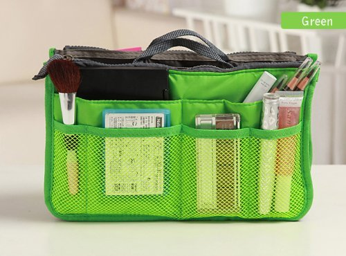 Purse Organizer Insert Multi-function Cosmetic Storage Bag in Bag(04 Green) by GorgeousCC