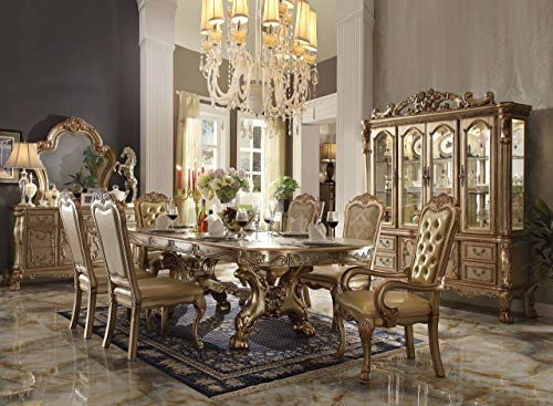 ACME Dresden Gold Patina and Bone Dining Table with Trestle Pedestal