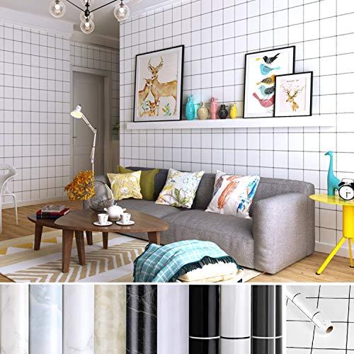 KINLO Fliesenaufkleber Selbstklebend Tapete wasserfest aus hochwertigem PVC Wandtapete Dekofolie 0.61 * 5M Weißer Plaid-Wandaufkleber Klebefolie Möbelaufkleber für Wohnzimmer TV Hintergrund Wand