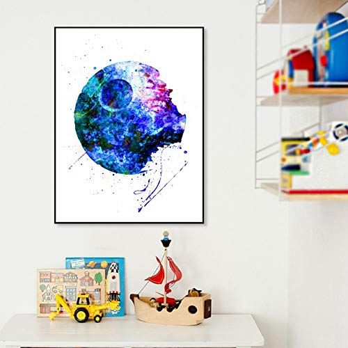 Todesstern Kunstplakat Jungen Zimmer Wandkunst Dekor Geschenk Ihm Aquarell Kunst Leinwand Malerei Bild Kinder Dekorationen 60x84CM