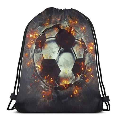LREFON Mochila con cordón para gimnasio, mochila con balón de fútbol, mochila explosiva, bolsa para almacenamiento de viaje, organizador de zapatos, baloncesto, yoga, niños