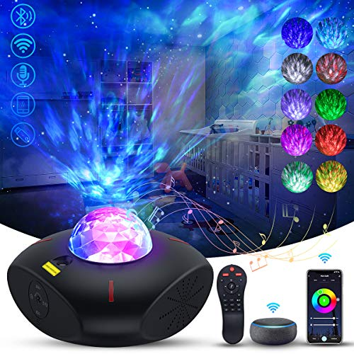 Galaxy Projector Galaxy Globe Projector Star Projector Galaxy 360 Pro with Alexa Google Home Bluetooth Music Speaker Ocean Wave Remote Control Galaxy Night Projector for Bedroom Baby Kids Adults