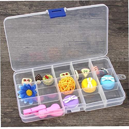 NaisiCore Joyería Organizador Compacto Ajustable 15 Compartimiento de plástico Caja de la Caja de Joya Caja de Herramientas