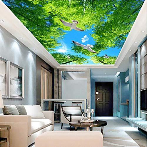 Hwhz Heimwerker Grüner Baum Sonnenschein Taube Fototapete Deckengemälde Wohnzimmer Hotel Hintergrund Decke Wandverkleidung Fresko-280X200Cm