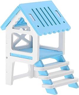 ハムスターハウス、防水かわいいファッショナブルな組み立て木製屋根裏部屋ロフトガゼボペットハムスター用の小さなハムスターハウス(青)
