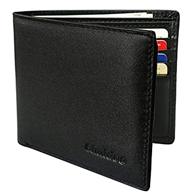 Simideo Men's Wallet TOP Genuine Leather RFID Wallet, Bifold Trifold Slim Wallet with 2 ID Windows
