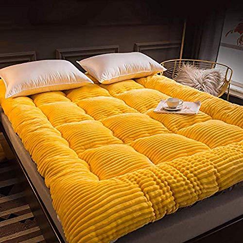 SAZDFY Topper de colchón, colchón de Tatami de Cachemira con Leche Colchón de Suelo japonés Plegable Colchón de futón Grueso y Suave Reina Amarilla: 150x200cm