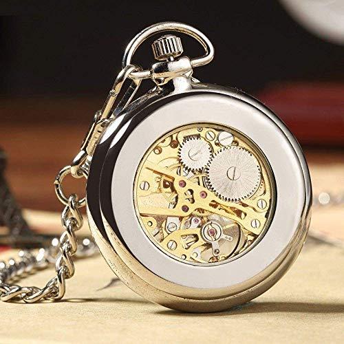 Vintage Taschenuhr Retro Silber Skelett transparent mechanische Uhr für Männer Frauen FOB Kette Handaufzug voller Stahl Uhr für Vatertag Geburtstagsgeschenk