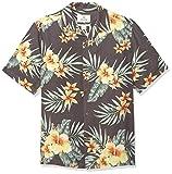 Marca Amazon – 28 Palms – Camisa de seda texturizada 100 % de corte holgado para hombre, diseño tropical hawaiano, Black/Orange Hibiscus Floral, US M (EU M)