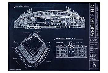 Wrigley Field Blueprint Style Print