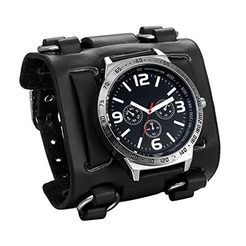 JewelryWe Herren Armbanduhr Analog Quarz 30M wasserdichte Sportuhr Uhren mit Schwarz Breit Leder Echtleder Armband Vatertagsgeschenk