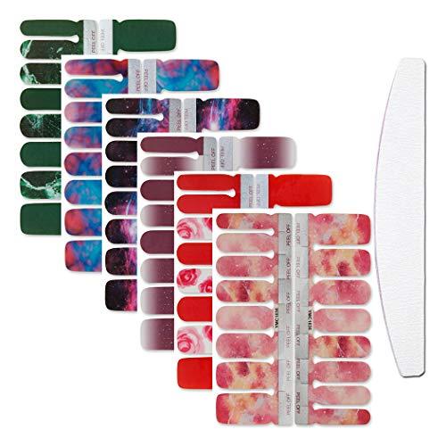 WOKOTO 6 Bögen Full Wraps Nail Art Decals Tips mit 1 Nagelfeile Farbverlauf Marmorieren Maniküre Nagellack Sticker Strips Set