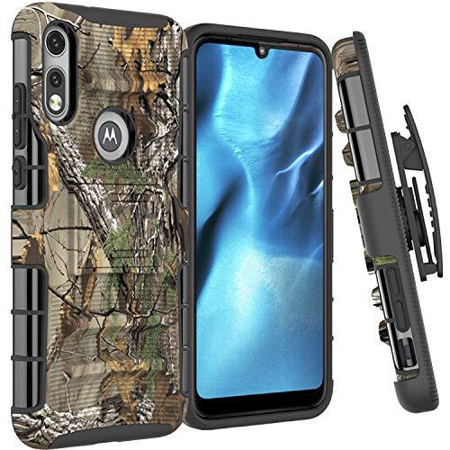 CoverON Holster Cover Designed for Motorola Moto E 2020 Case, Rugged Belt Clip Kickstand Dual Layer Outdoor Phone Armor - Camo