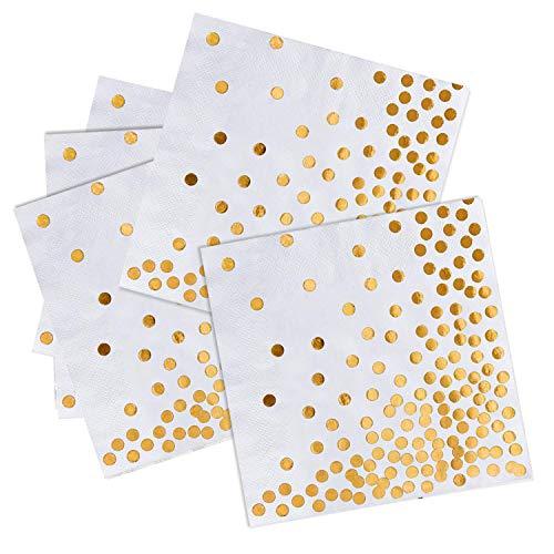 iZoeL 50Stk Geburtstag Servietten Gold Happy Birthday Servietten 33x33cm 3-lagig Pink Papierservietten für Mann Frau Mädchen Party Deko (Gold Punkte)