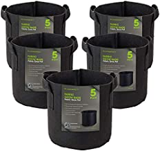 BLOOMSPECT 5-Pack 2 Gallon Grow Bags, Aeration Fabric Pots, Heavy Duty Thickened Nonwoven Plant Container with Handles