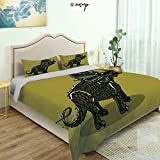 Homenon Bedding Sheet Modern Bed Sets Cartoon Style Anchiceratops Dino for Teen 3 Pieces (1 Quilt Cover, 2 Pillowcases) (Queen)