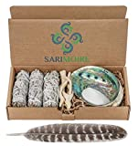 Sage Smudge Kit - White Sage Smudge Sticks - 4in ~ Abalone Shell 5-6in ~ 2in Tripod Stand ~ 9-12in Feather and White Sand