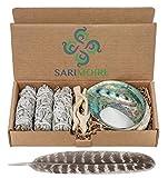 Kit de limpieza de salvia - Palos de limpieza de salvia blanca - 10cm ~ caparazón de abulón de 13 a 15cm ~ soporte de trípode 5cm ~ pluma de 22 a 30cm y arena blanca.