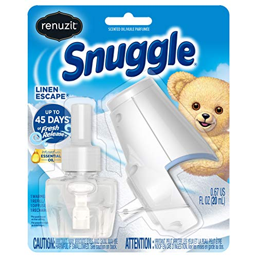Renuzit Snuggle Scented Oil Refill Air Freshener & Plugin Warmer, Linen Escape Starter Kit