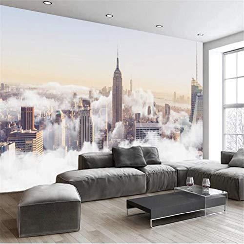 Moderno minimalista abstracto pintado a mano ciudad nube mar paisaje TV fondo papel de pared mural